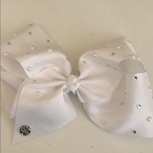 white jojo bow with rhinestones